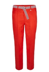 10 Feet Tailored Linen Pant in luxurious cupro blend with contrast stripe.
