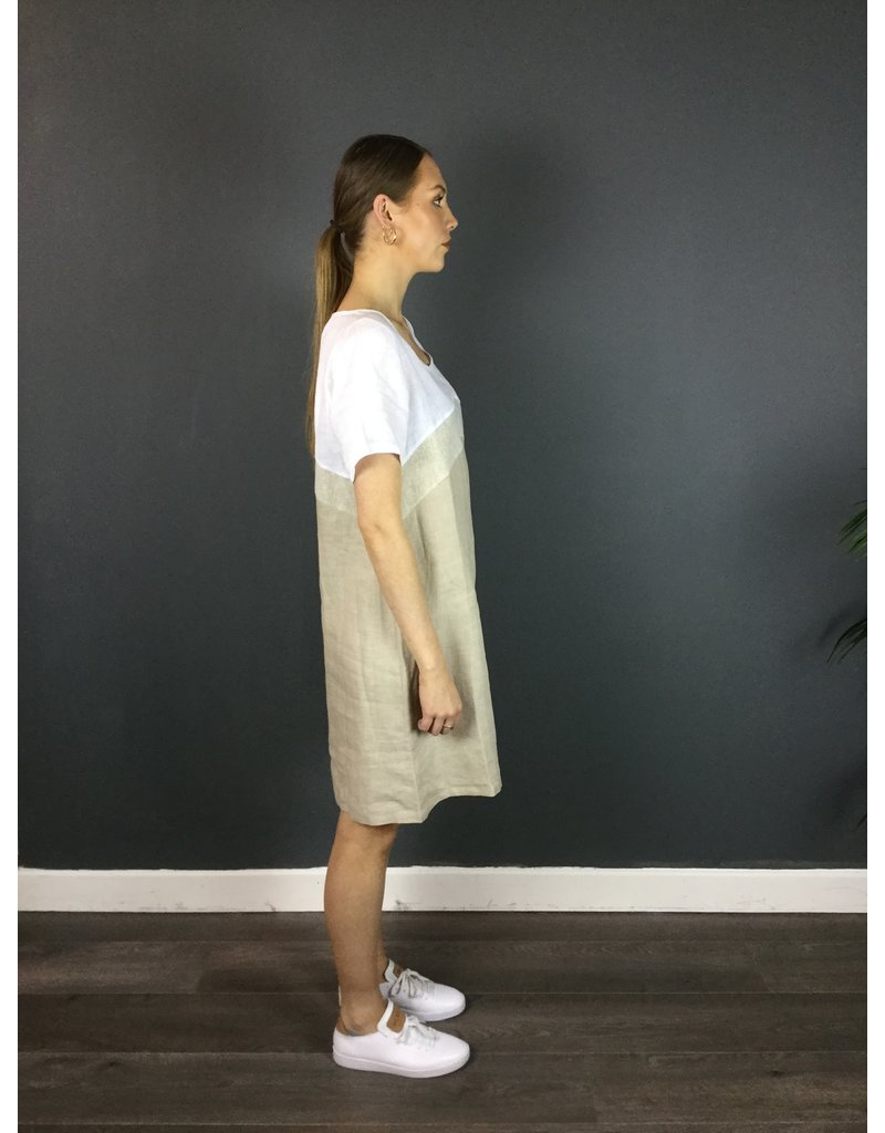 La Fee Maraboutee Short Sleeve 3 Tone Linen Dress