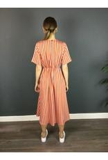 La Fee Maraboutee Short Sleeve Stripe V Neck Dress