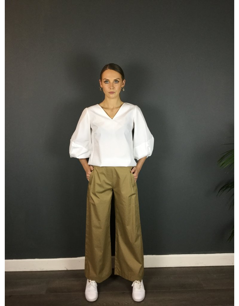 Humility Wide Cut Poplin Cotton Trousers