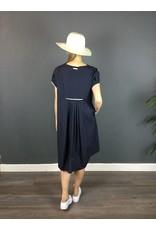 Humility Round Neck Short Sleeve Navy Dress