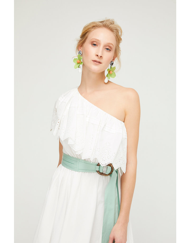 Exquise Cream Dress with Mint Belt