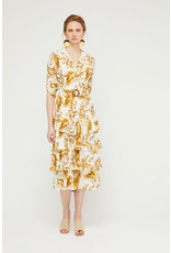 Exquise Tiered Dress with Colar and sleeves in palm print