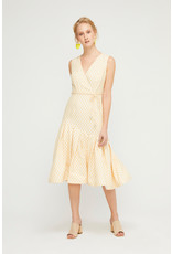 Exquise Wrap V Neck Dress with Pleated End