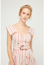 Exquise Striped V Neck Dress with Belt