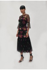 Fee G Black Tulle Embroidery Dress