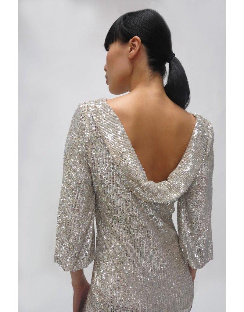 Fee G Short Silver Sequin Dress