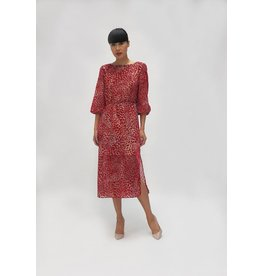 Fee G Red Velvet Midi Dress