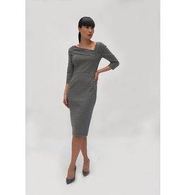 Fee G Wrap Shoulder Houndstooth Dress