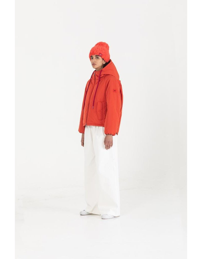 OOF Hooded Duvet Jacket with dipped drawstring hem