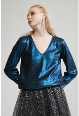 Exquise V-Neck Oil Blue Sequence Blouse