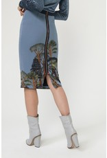 Exquise Tree Patterned Skirt with Zip Back