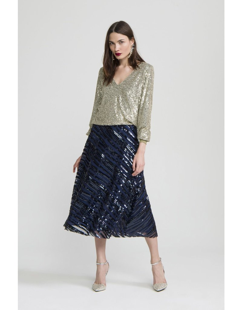 Exquise Long Navy Sequence Stripe Skirt