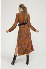 Exquise  Leaf Pattern Long belted Tan Dress
