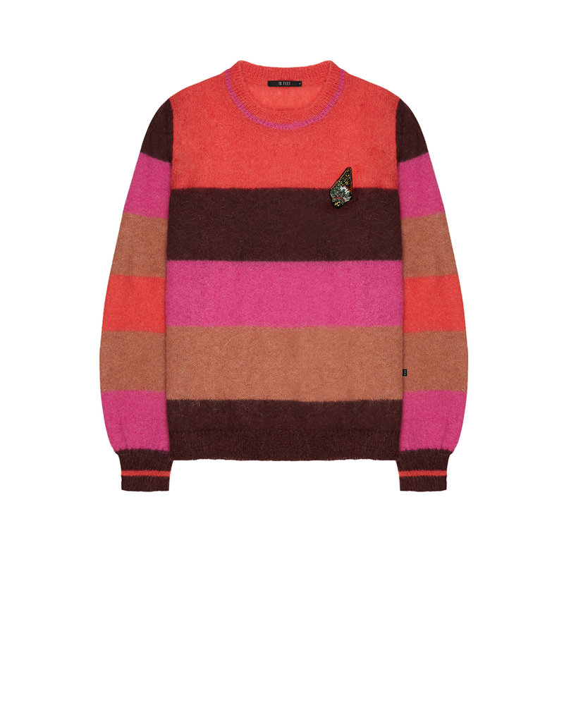 10 Feet Multi Colour Stripe Pullover with Broche