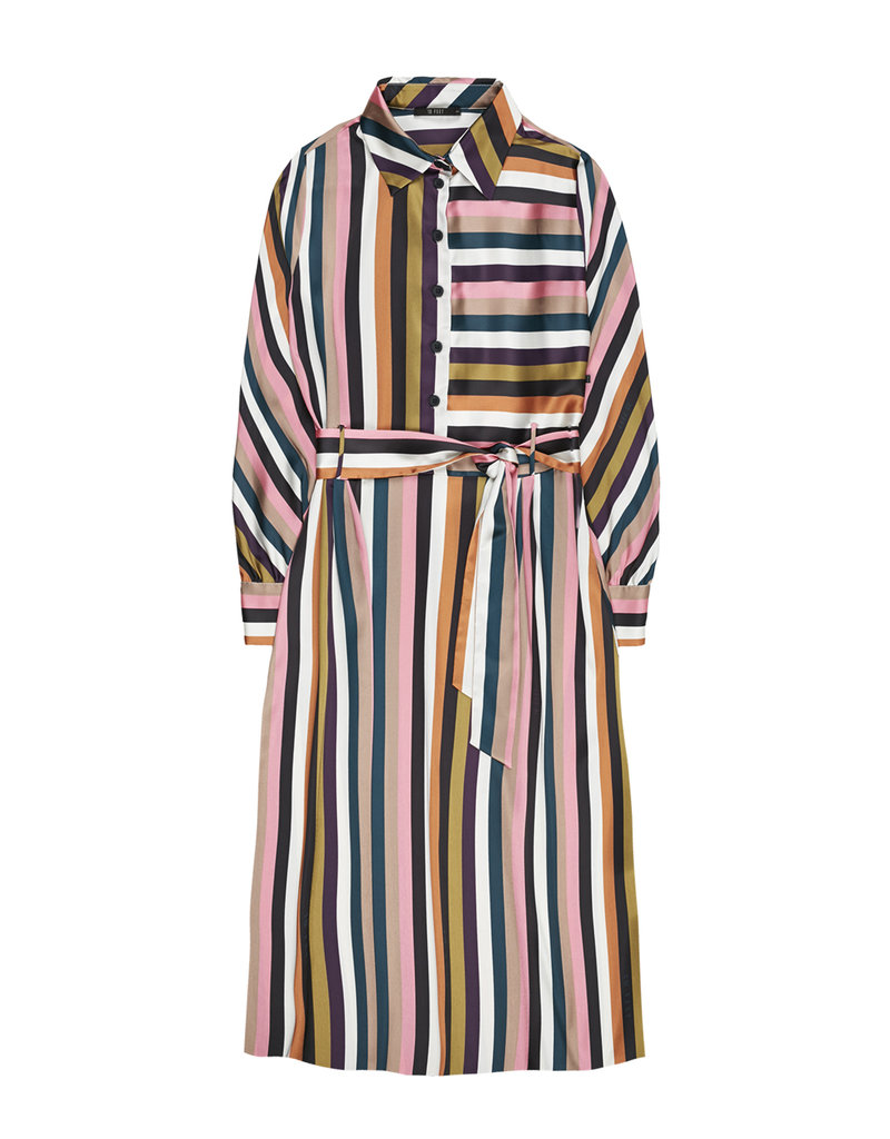 10 Feet Multi Coloured Striped Dress With Collar