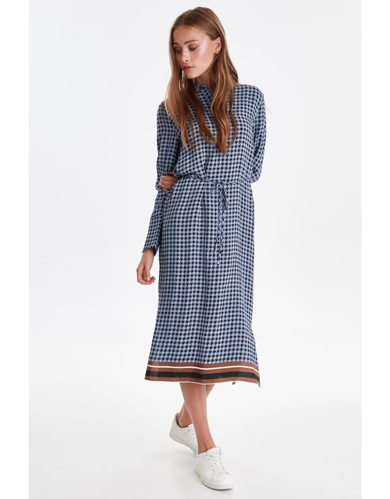 ICHI Kaylie Country Blue Midi Dress