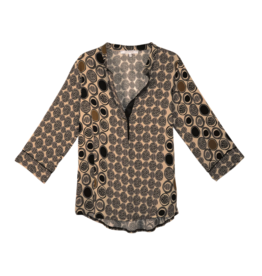 La Fee Maraboutee Abstract Circle Print Blouse