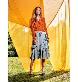 10 Feet Sunray Pleated Skirt with graphic leaf print