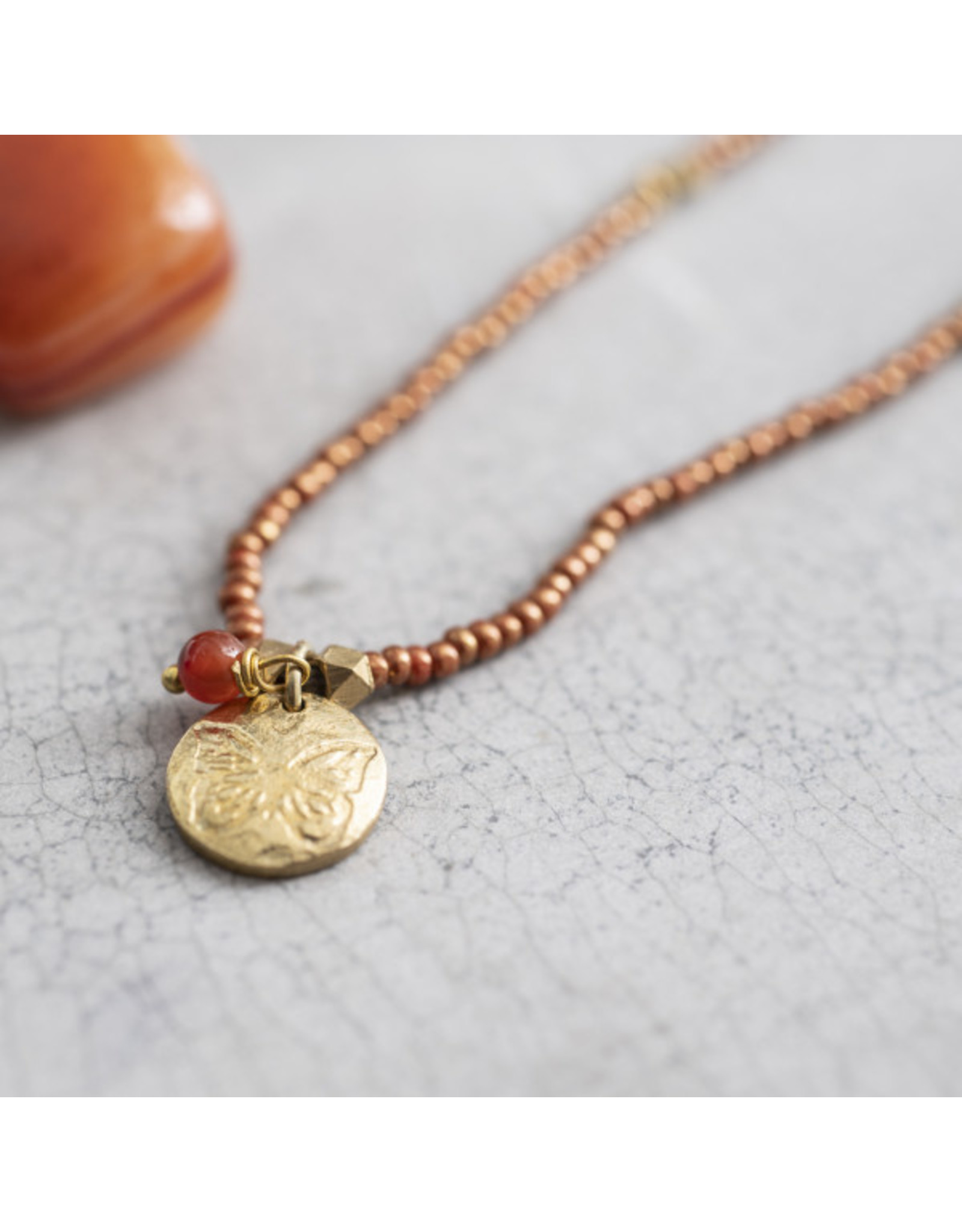 A beautiful Story Truly Carnelian Butterfly Gold Necklace