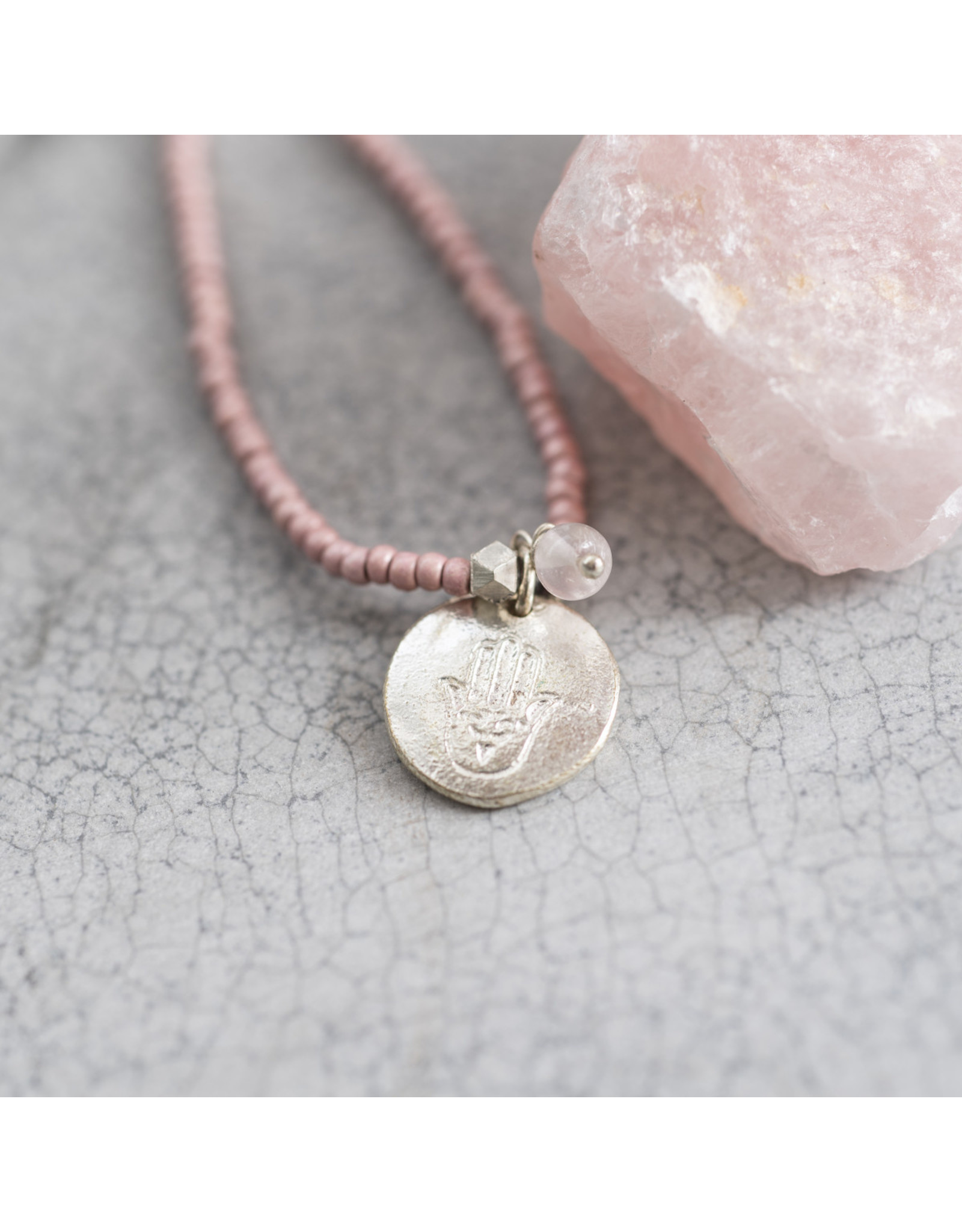 A beautiful Story Truly Rose Quartz Hamsa Silver Necklace