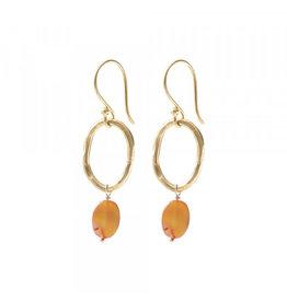 A beautiful Story Graceful Carnelian Gold Earrings