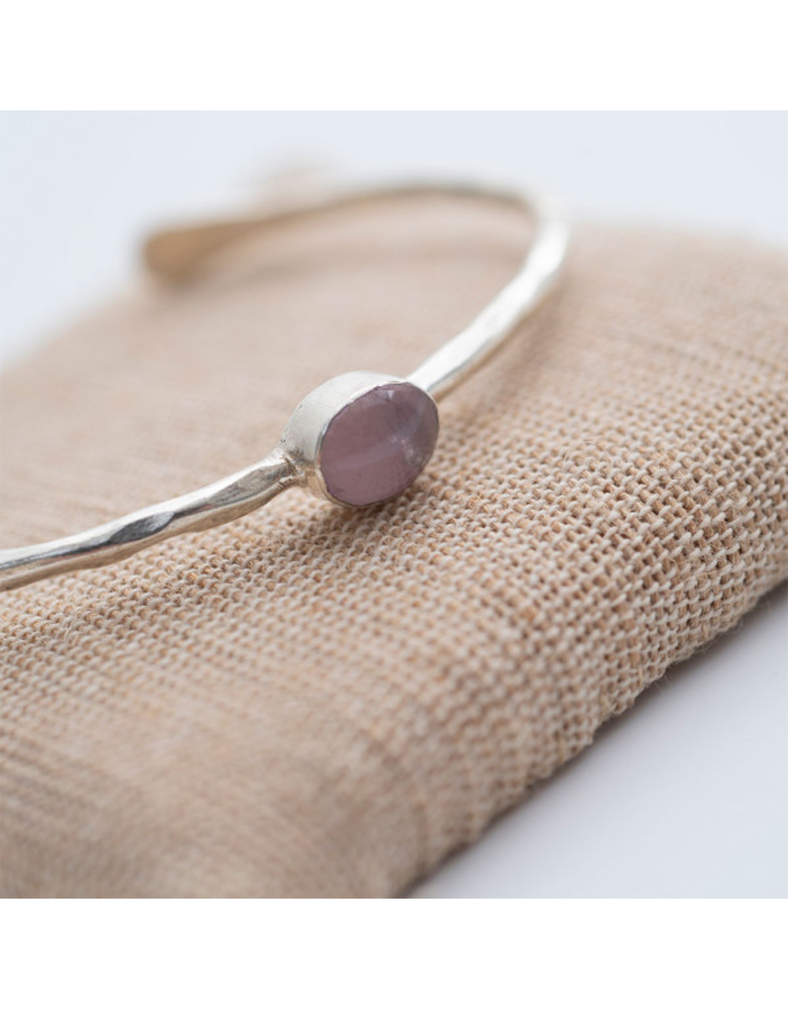 A beautiful Story Moon light Rose Quartz Silver Bracelet