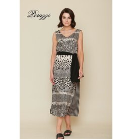 Peruzzi Black Polka Dot Stripe Dress