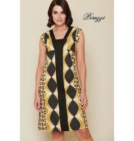 Peruzzi Gold Cotton Print Dress