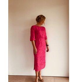 Fee G Pink Sheer Jacquard Midi Dress