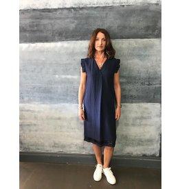 La Fee Maraboutee V Neck Linen Dress with Ruffle Sleeve