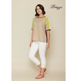 Peruzzi Linen Colour Block Top