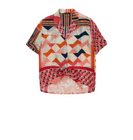 10 Feet Knotted Blouse with Graphical block print