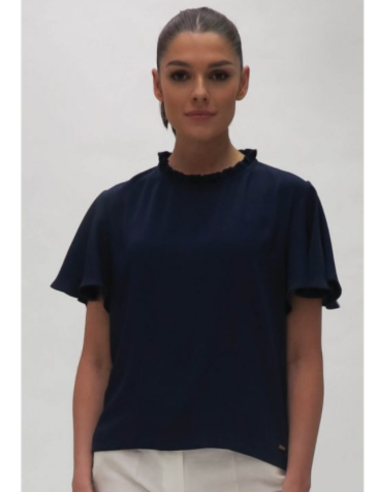 Fee G Pleat trim blouse with Drape Sleeve