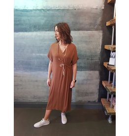 Humility V Neck Cap Sleeve Dress With Cord Tie