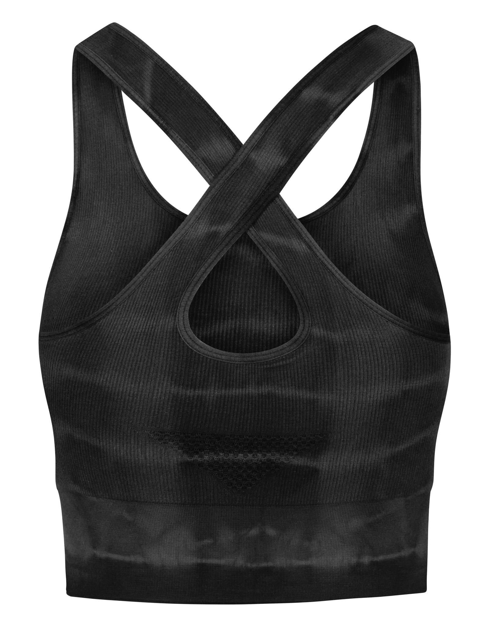 Gai & Lisva Lifa Petrol Grey Tie Dye Supersoft Rib Modal Top