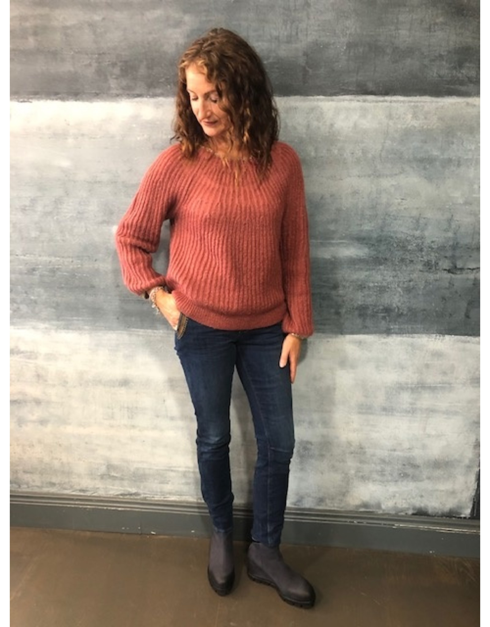 La Fee Maraboutee Rose Long Sleeve Jumper with Lurex Trim