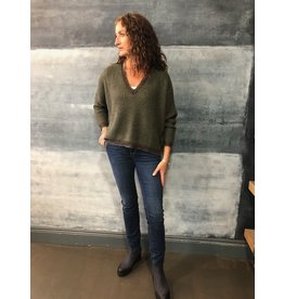La Fee Maraboutee Deep V Neck Green Oversize Knit