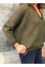 La Fee Maraboutee Deep V Neck Green Oversize Knit with Lurex Cuff & Hem