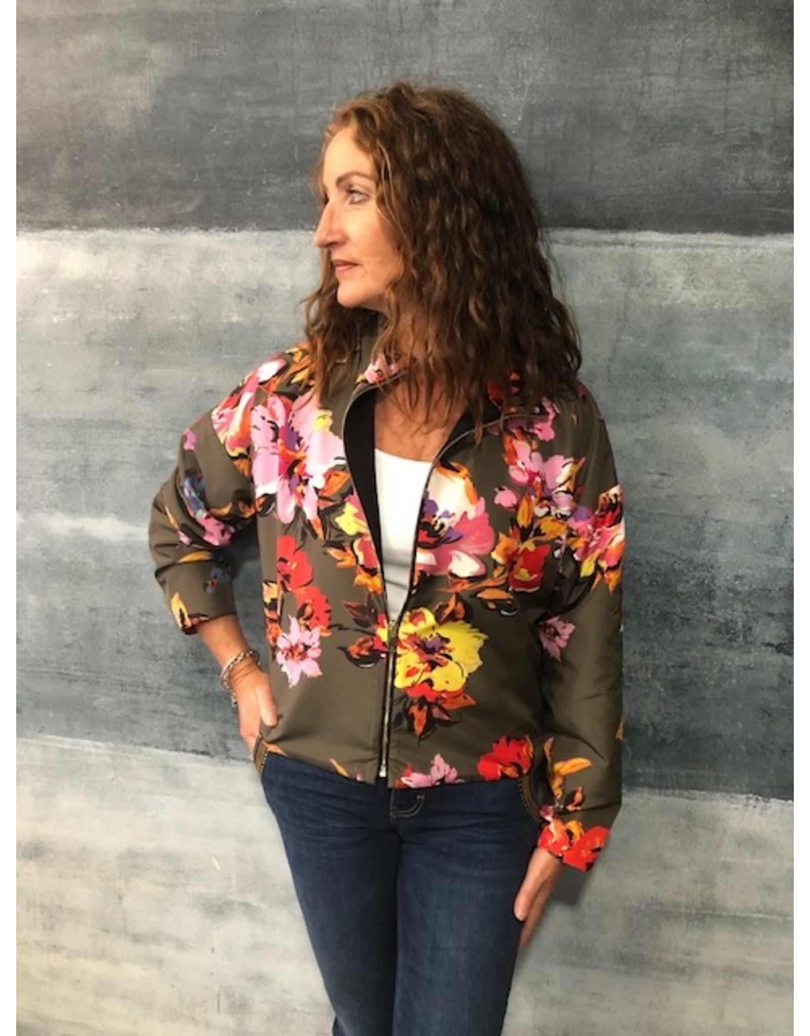 La Fee Maraboutee Floral Print Bomber Style Zip Jacket