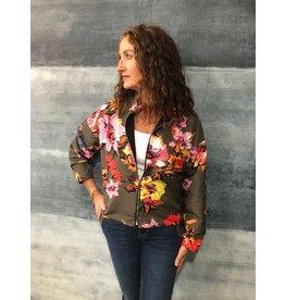 La Fee Maraboutee Floral Print Bomber Style Zip Jacket