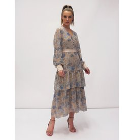 Fee G Print & Lurex  Sleeved Layered Dress