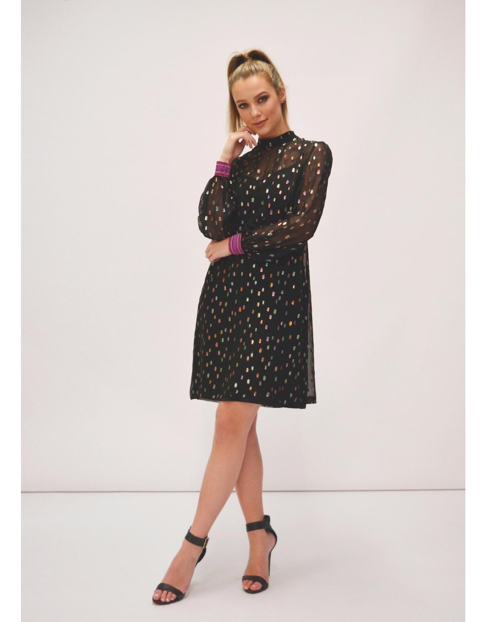 Fee G Lurex Sparkle Short Black Dress