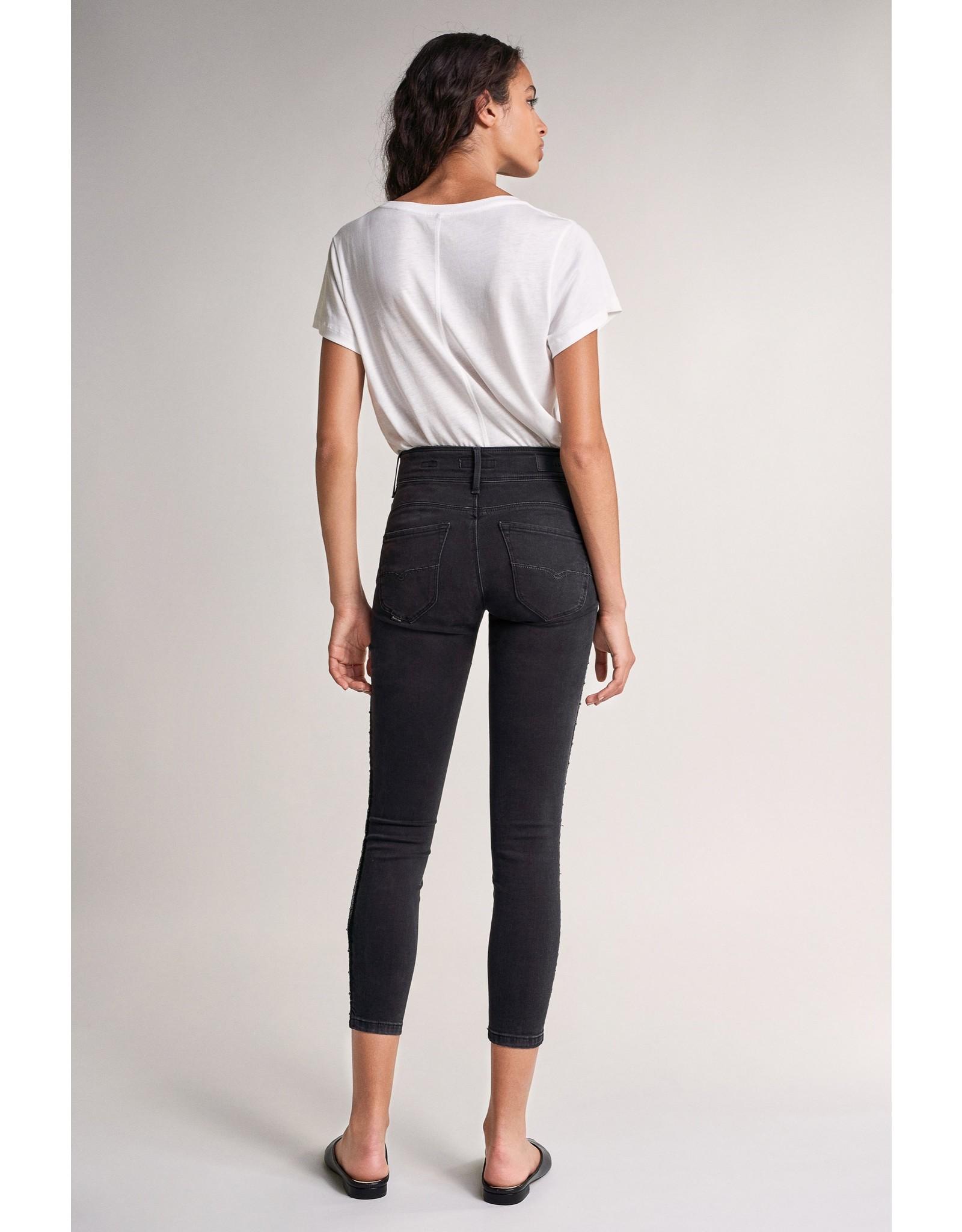 Salsa Jeans Push In Secret Capri Black Jeans With Side Strip