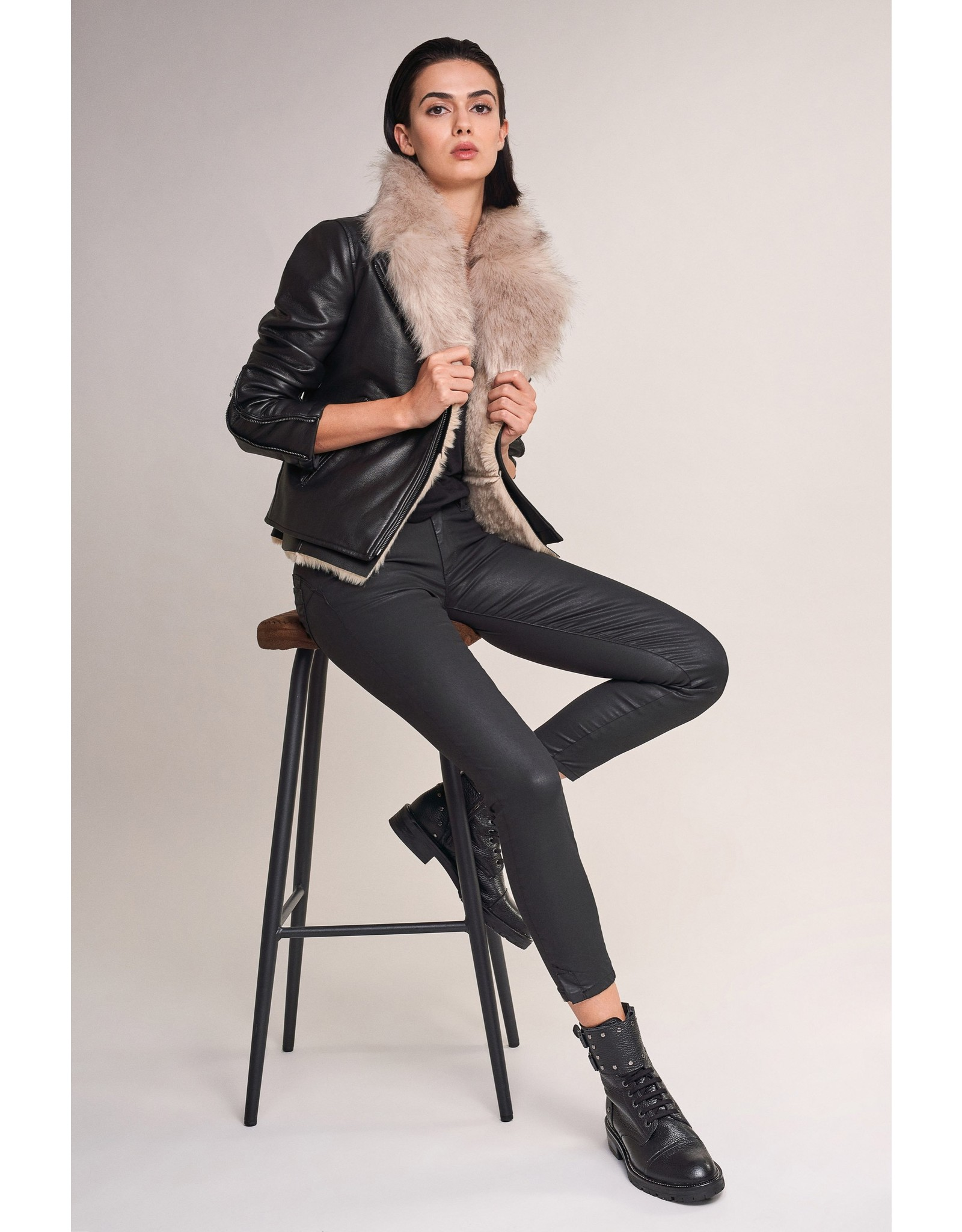 Salsa Jeans Motard Jacket With Fur Collar And Inner