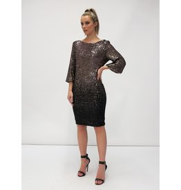 Fee G Short Dip Dye Sequin Gold Dress