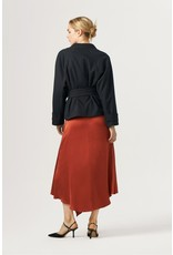 Exquise Wrap Style Belted Navy & Copper Jacket