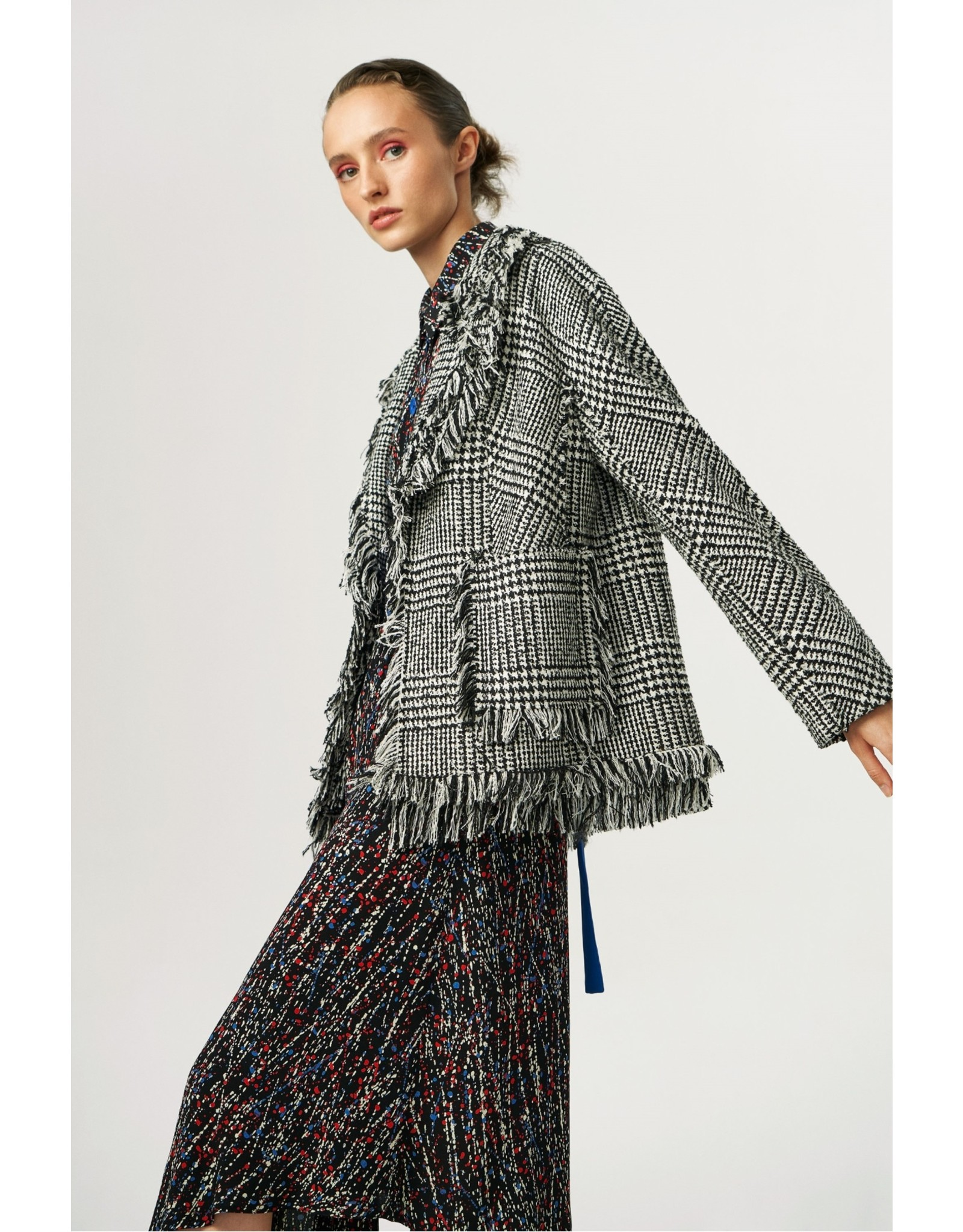 Exquise Checked tweed Jacket with Back Emblem