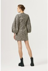 Exquise Short Black and Beige Print Dress with Dramatic Puff Sleeves
