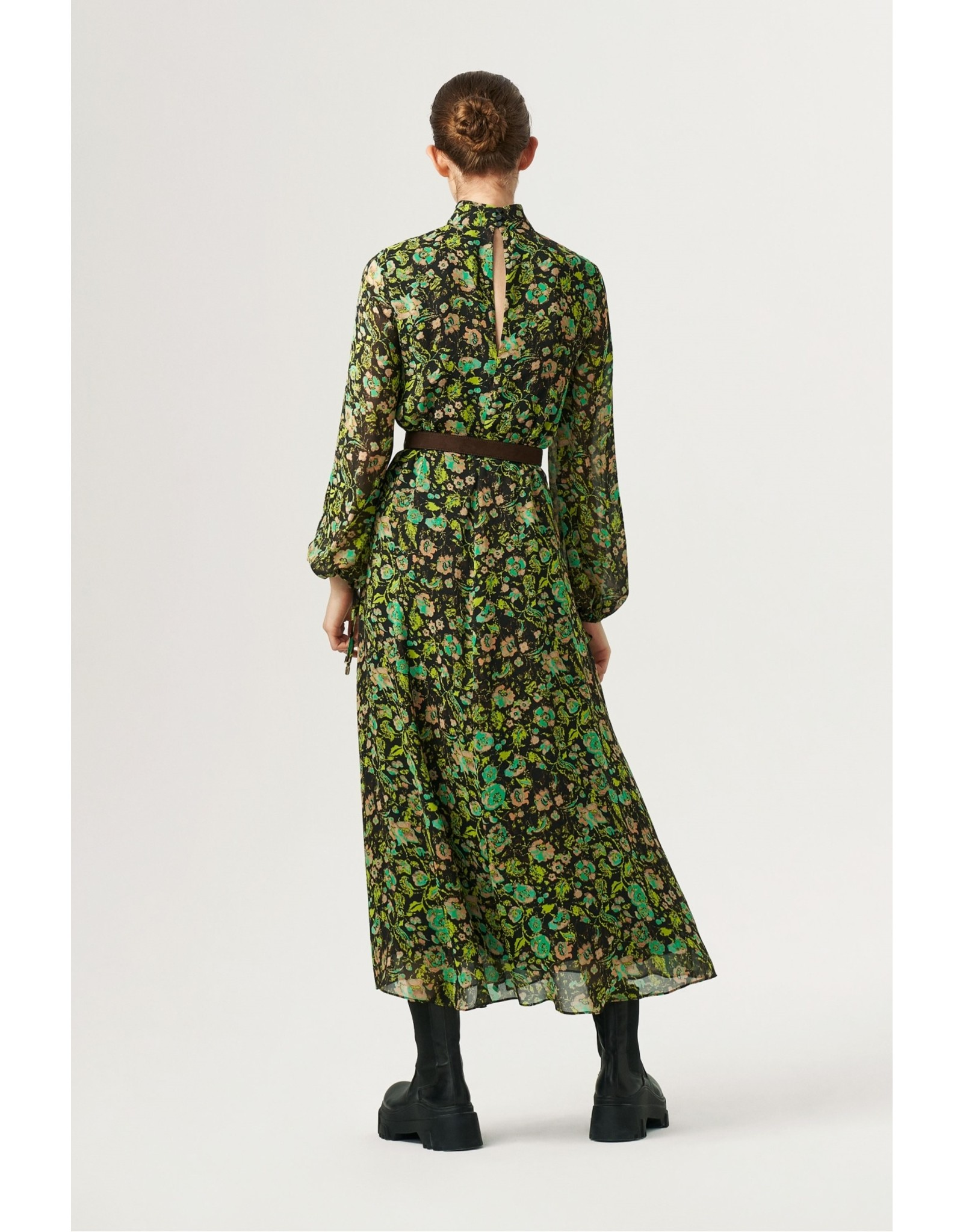 Exquise Cowl Neck Long Green Printed Dress